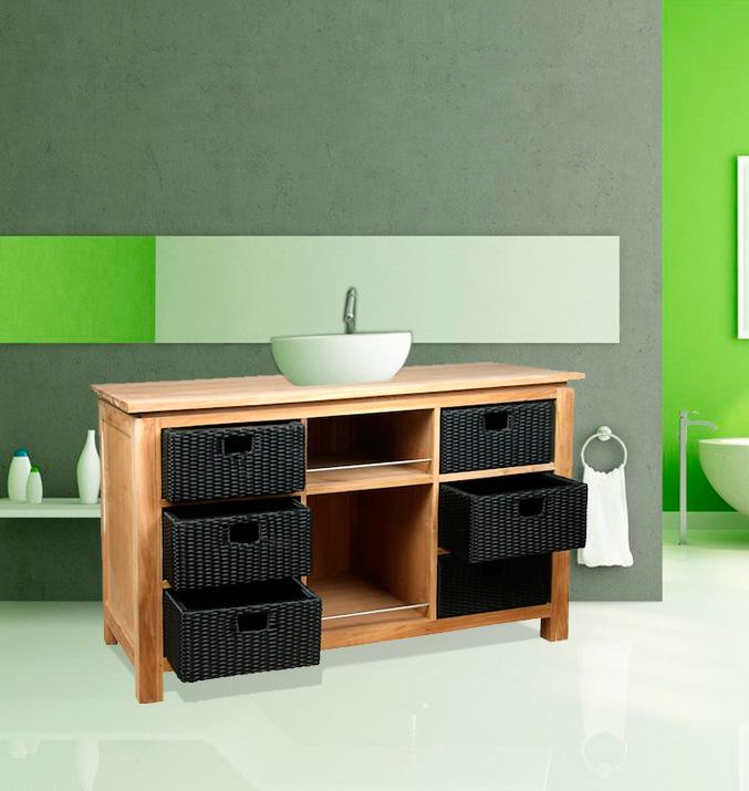 meuble en teck pour vasque à poser