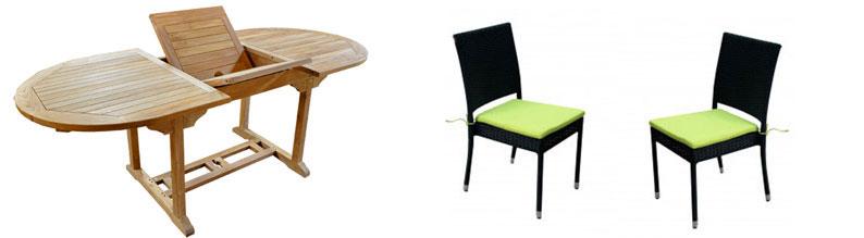 salon en teck brut avec 6 chaises empilables