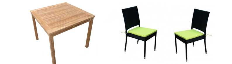 salon en teck brut - table carrée 90x90 cm