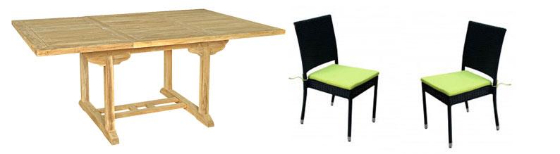 salon Flores en teck brut avec 6 chaises résine