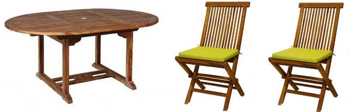 salon table 120-180 et chaise en teck