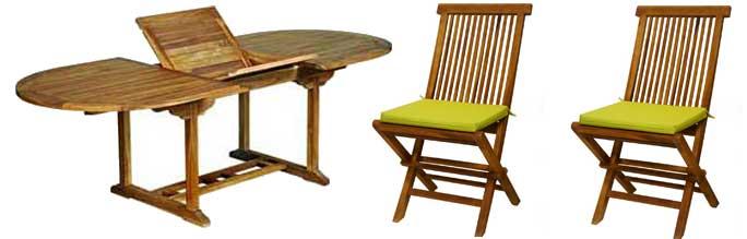 table en teck huile 180-240 cm avec 10 chaises peignes