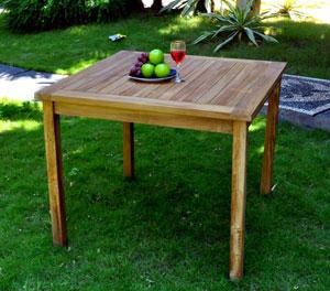 table de jardin en teck 90x90 cm
