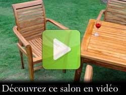 salon de jardin table et fauteuil huilé